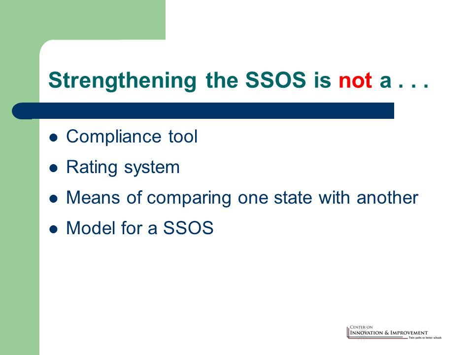 Strengthening the SSOS is not a...