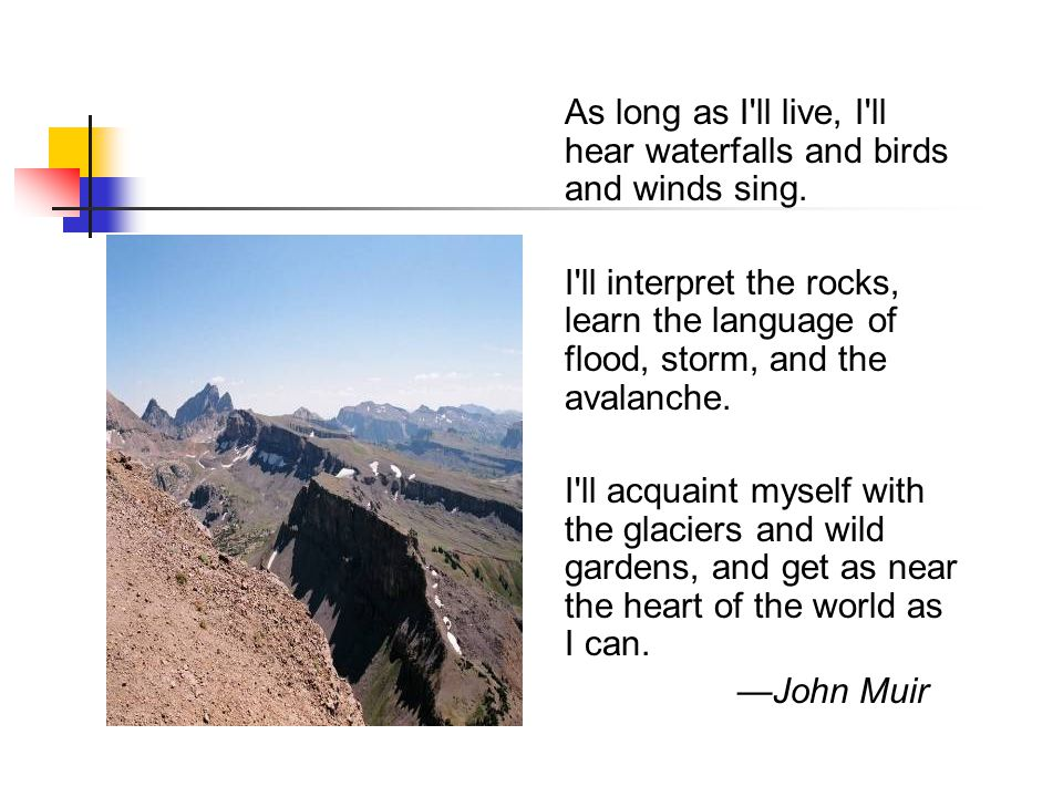 As long as I ll live, I ll hear waterfalls and birds and winds sing.