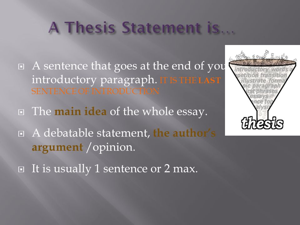  A sentence that goes at the end of your introductory paragraph.