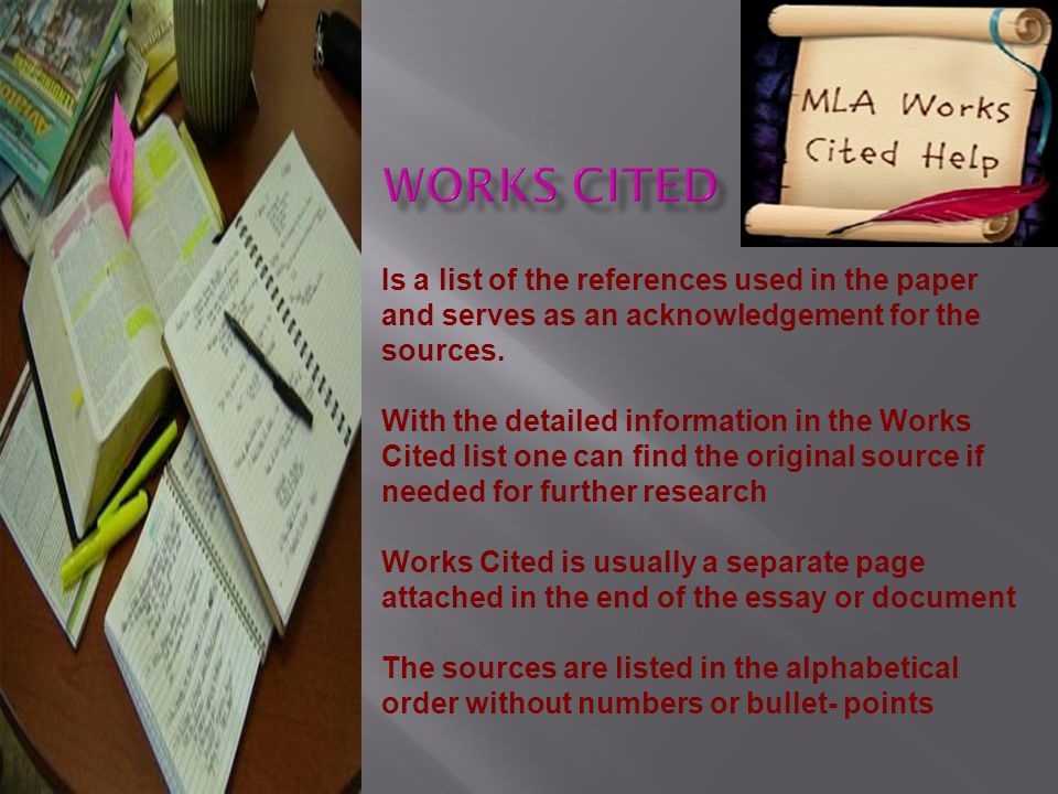 Is a list of the references used in the paper and serves as an acknowledgement for the sources.