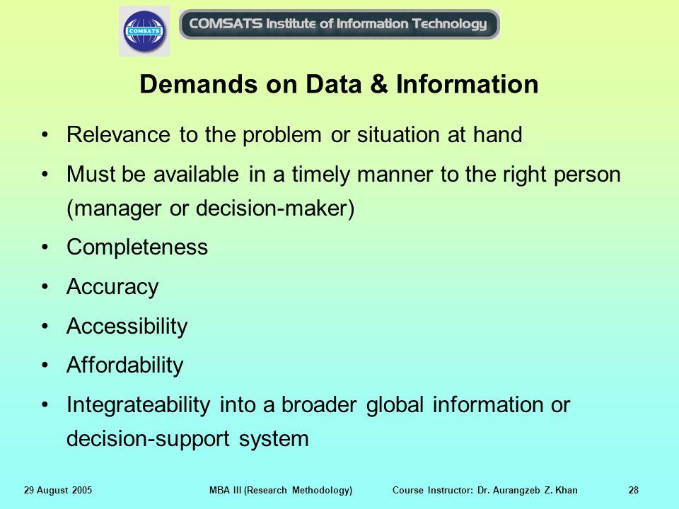 29 August 2005MBA III (Research Methodology) Course Instructor: Dr. Aurangzeb Z. Khan28 Demands on Data & Information Relevance to the problem or situ
