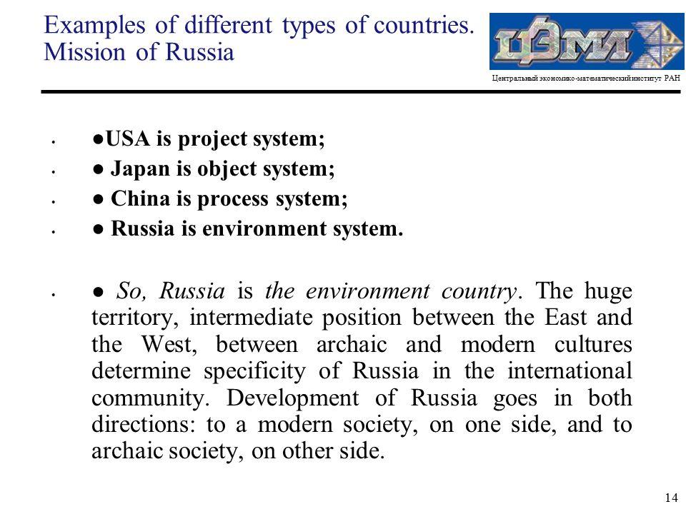 Центральный экономико-математический институт РАН 14 Examples of different types of countries.