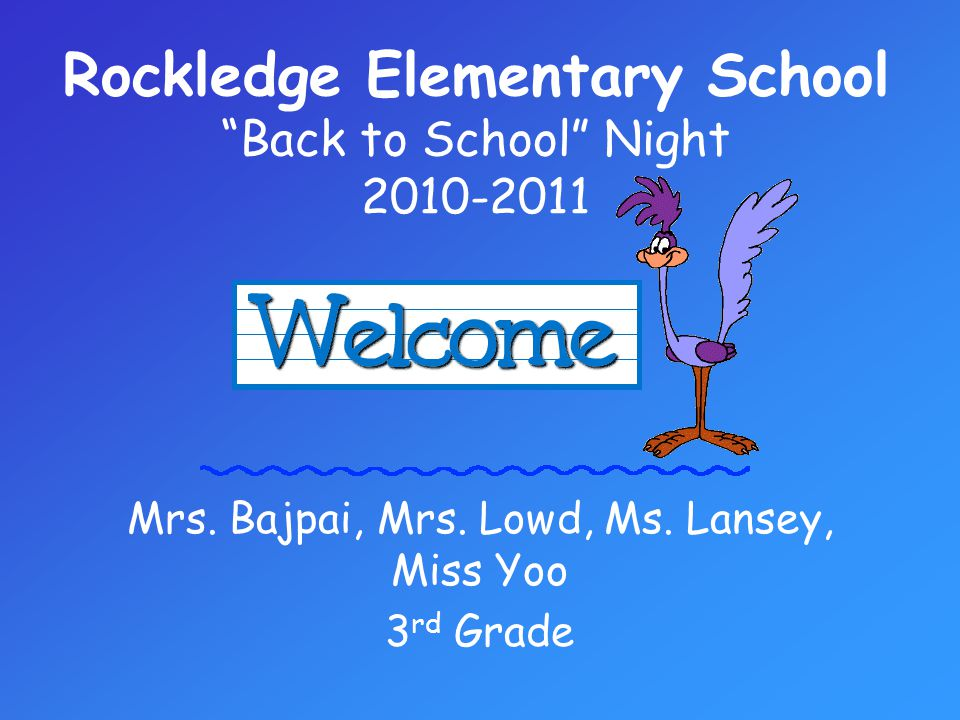 Back to School Night Objective: The Third Grade Team will introduce themselves, discuss classroom rules/general policies, convey information about academic subjects/curriculum, and review and suggest methods of communication between school and home in order to acquaint parents and family members with the 3 rd grade classroom.