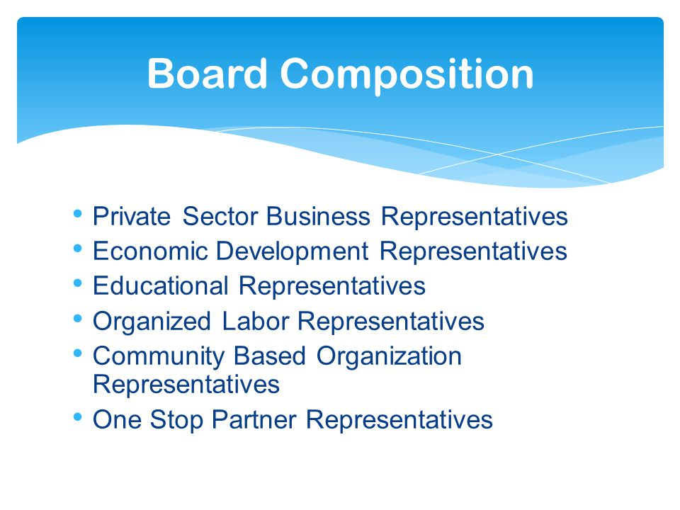 Private Sector Business Representatives Economic Development Representatives Educational Representatives Organized Labor Representatives Community Based Organization Representatives One Stop Partner Representatives Board Composition