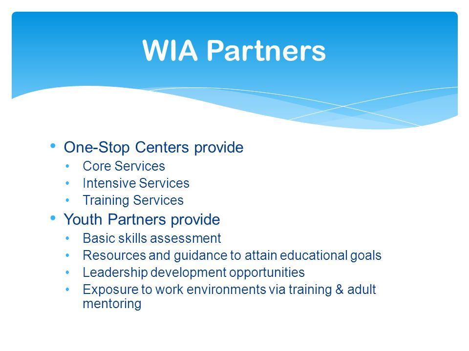 One-Stop Centers provide Core Services Intensive Services Training Services Youth Partners provide Basic skills assessment Resources and guidance to attain educational goals Leadership development opportunities Exposure to work environments via training & adult mentoring WIA Partners