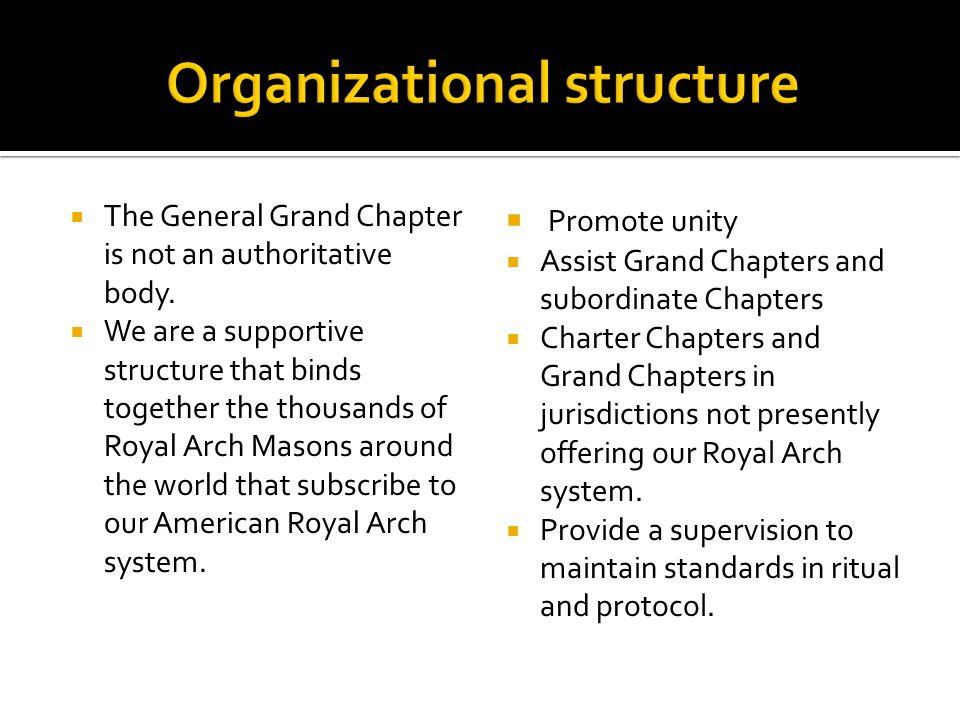  The General Grand Chapter is not an authoritative body.