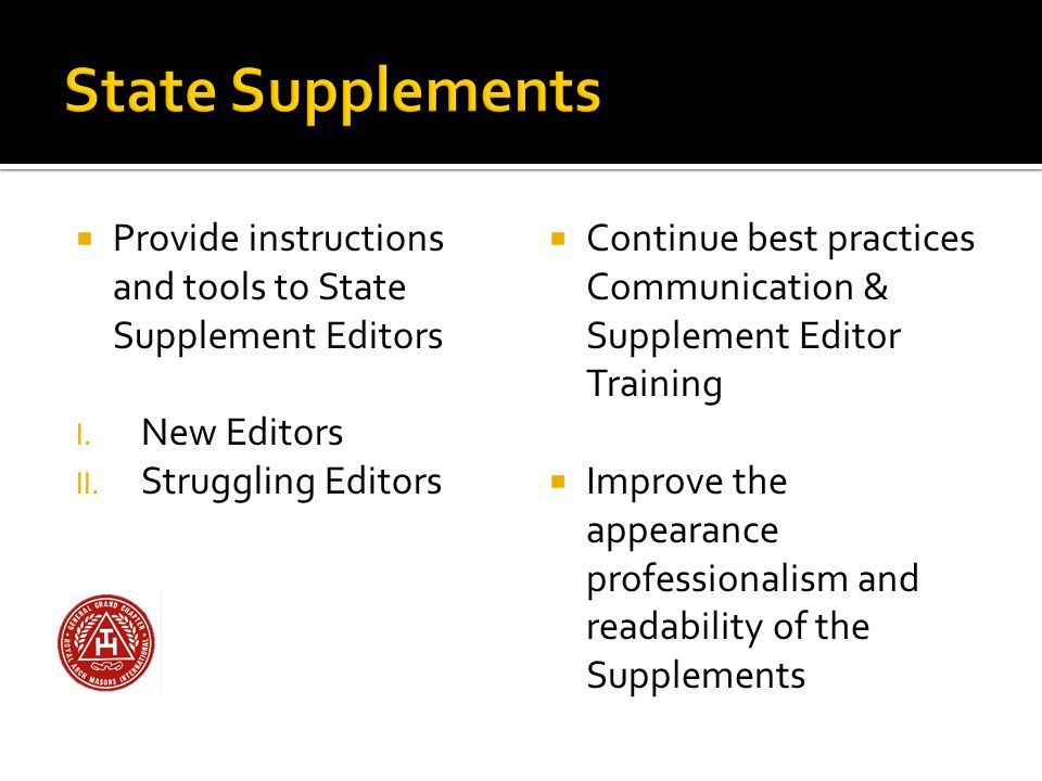  Provide instructions and tools to State Supplement Editors I.