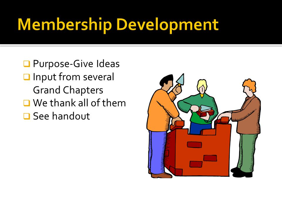  Purpose-Give Ideas  Input from several Grand Chapters  We thank all of them  See handout