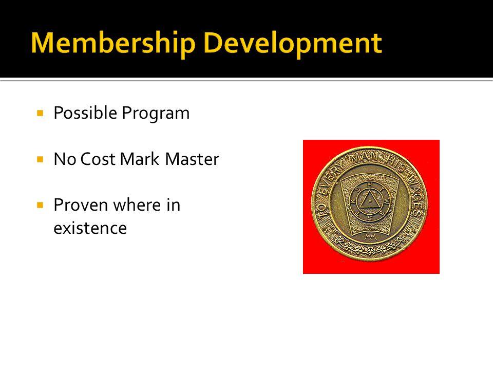  Possible Program  No Cost Mark Master  Proven where in existence