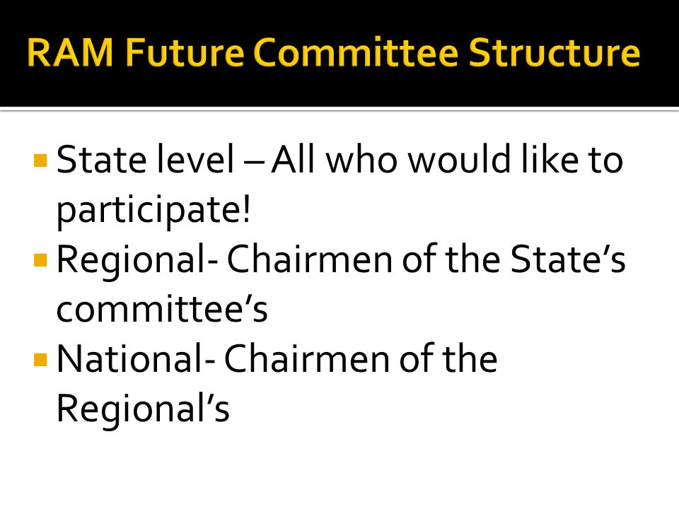  State level – All who would like to participate.
