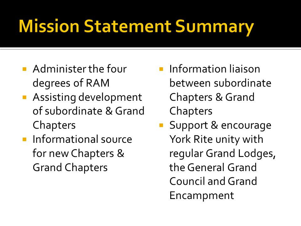  Administer the four degrees of RAM  Assisting development of subordinate & Grand Chapters  Informational source for new Chapters & Grand Chapters  Information liaison between subordinate Chapters & Grand Chapters  Support & encourage York Rite unity with regular Grand Lodges, the General Grand Council and Grand Encampment