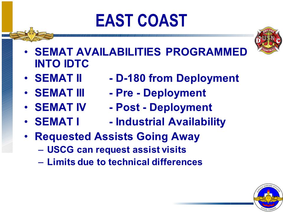 EAST COAST SEMAT AVAILABILITIES PROGRAMMED INTO IDTC SEMAT II - D-180 from Deployment SEMAT III - Pre - Deployment SEMAT IV - Post - Deployment SEMAT