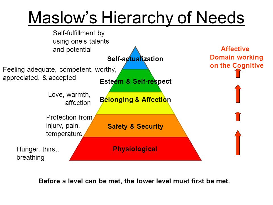 Maslow's Hierarchy of Needs Self- actualization Esteem & Self- respect Belonging & Affection Safety & Security Physiological Hunger, thirst, breathing Protection from injury, pain, temperature Love, warmth, affection Feeling adequate, competent, worthy, appreciated, & accepted Self-fulfillment by using one's talents and potential Before a level can be met, the lower level must first be met.