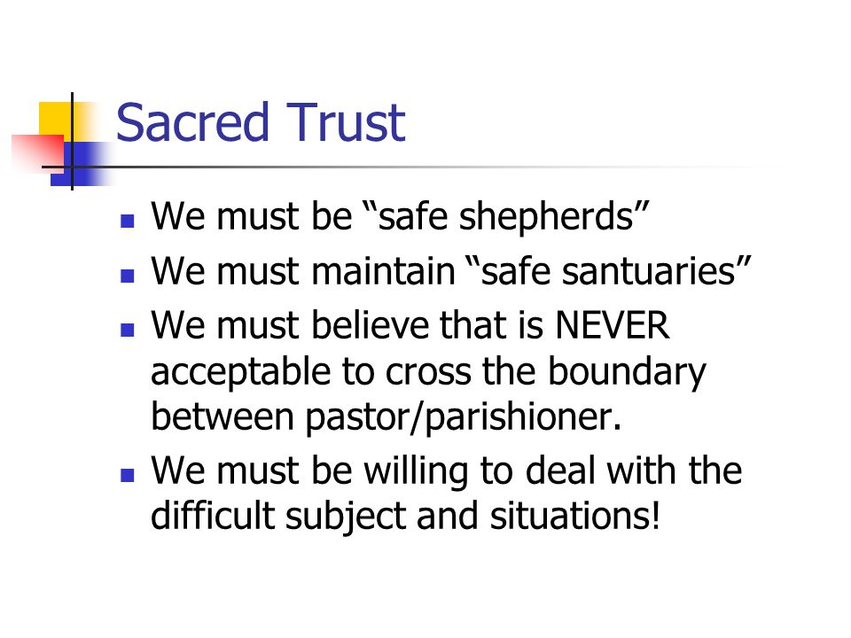 Sacred Trust We must be safe shepherds We must maintain safe santuaries We must believe that is NEVER acceptable to cross the boundary between pastor/parishioner.