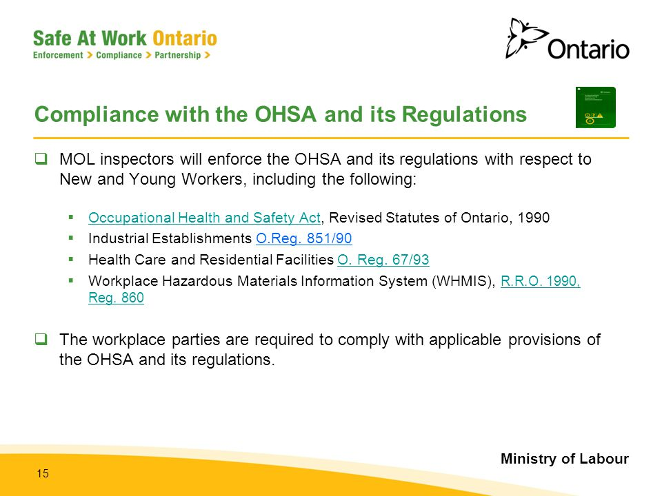 Ministry of Labour 15 Compliance with the OHSA and its Regulations  MOL inspectors will enforce the OHSA and its regulations with respect to New and