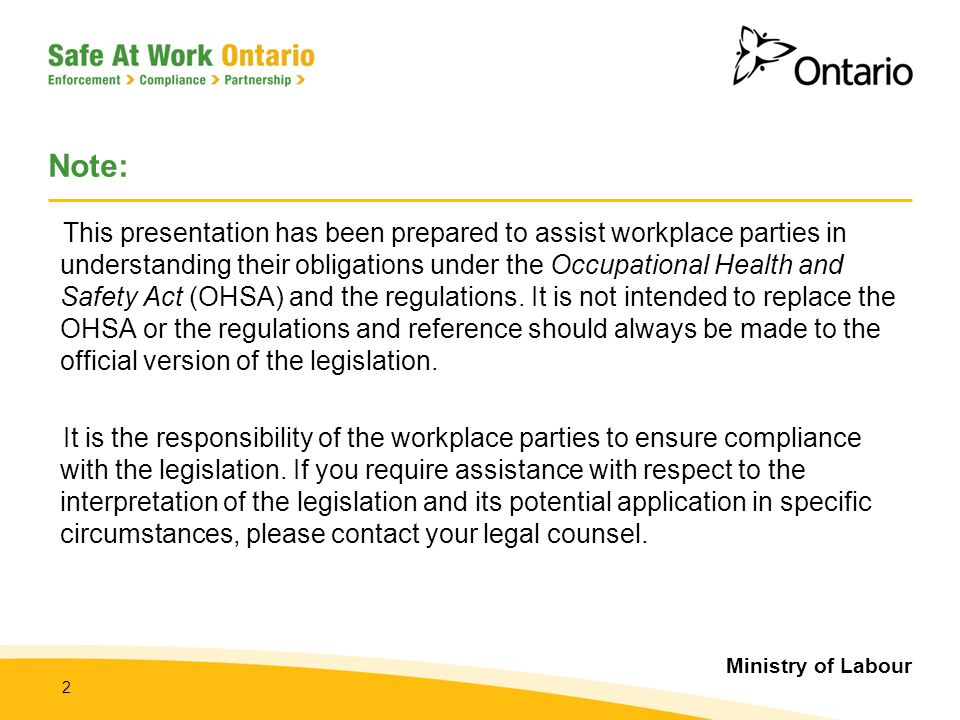 Ministry of Labour 3 Today's Objectives  To provide stakeholders with an overview of the Ministry of Labour New and Young Workers Blitz, May through August, 2012  To outline the Ministry of Labour's (MOL) expectations and the focus of MOL inspectors  To provide information about resources to assist workplace parties