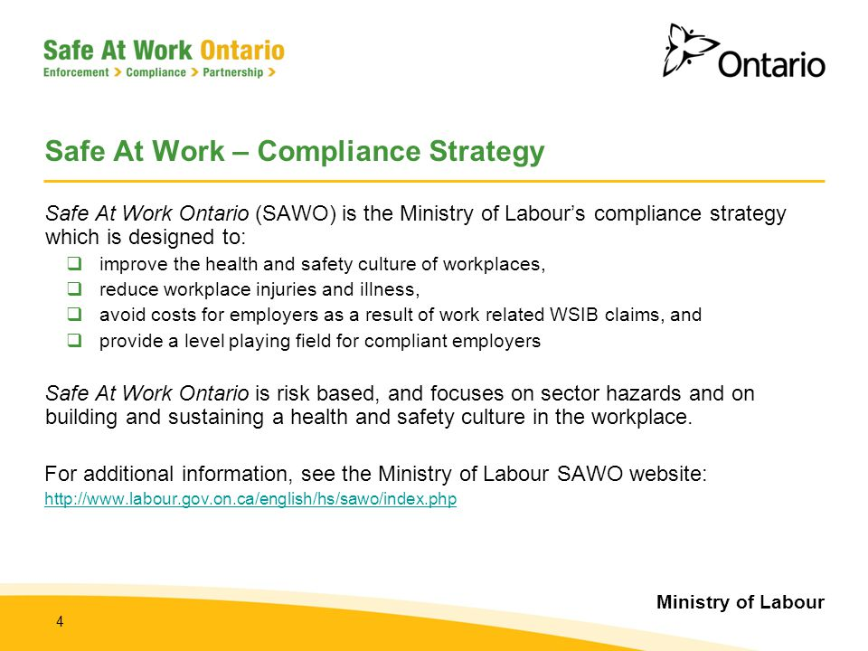 Ministry of Labour 15 Compliance with the OHSA and its Regulations  MOL inspectors will enforce the OHSA and its regulations with respect to New and Young Workers, including the following:  Occupational Health and Safety Act, Revised Statutes of Ontario, 1990 Occupational Health and Safety Act  Industrial Establishments O.Reg.