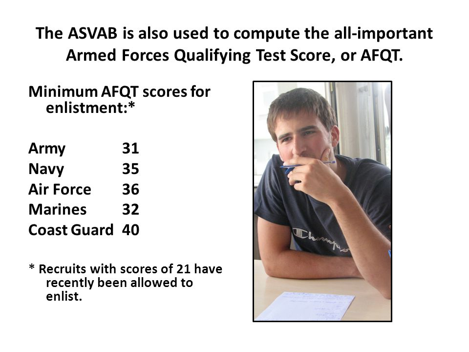 Based on his ASVAB scores, this young man was prequalified for dozens of military operation specialties.