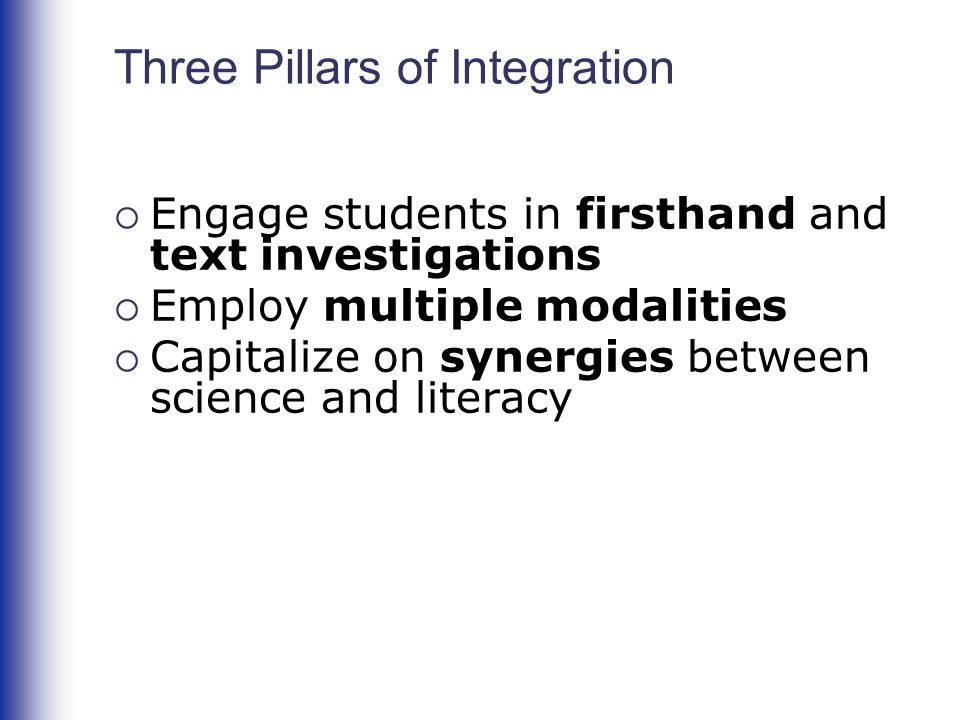 Three Pillars of Integration  Engage students in firsthand and text investigations  Employ multiple modalities  Capitalize on synergies between science and literacy