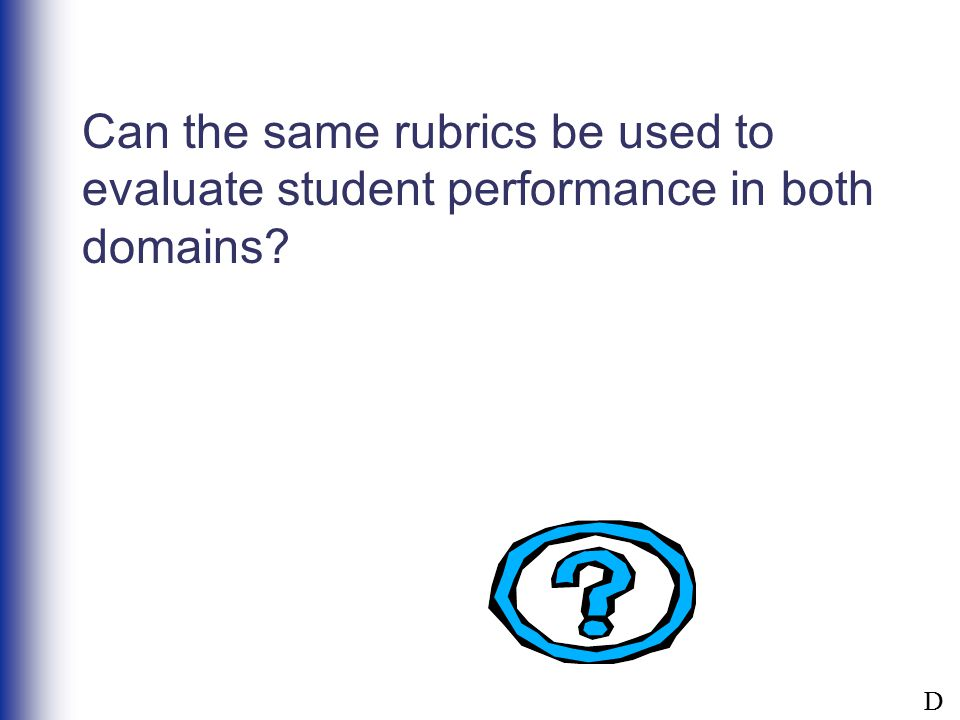 Can the same rubrics be used to evaluate student performance in both domains? D