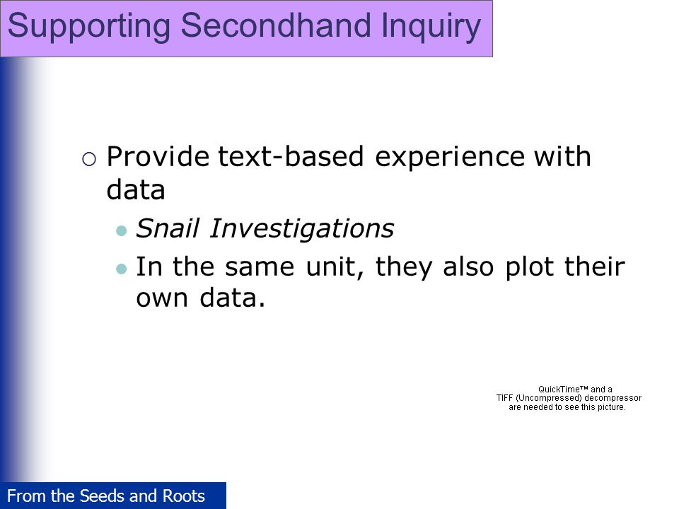 Supporting Secondhand Inquiry  Provide text-based experience with data Snail Investigations In the same unit, they also plot their own data. From the