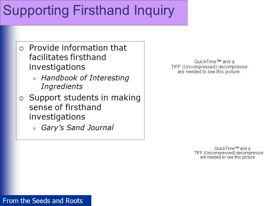 Supporting Firsthand Inquiry  Provide information that facilitates firsthand investigations Handbook of Interesting Ingredients  Support students in