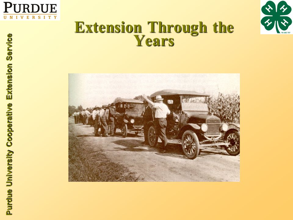 Purdue University Cooperative Extension Service Extension Through the Years
