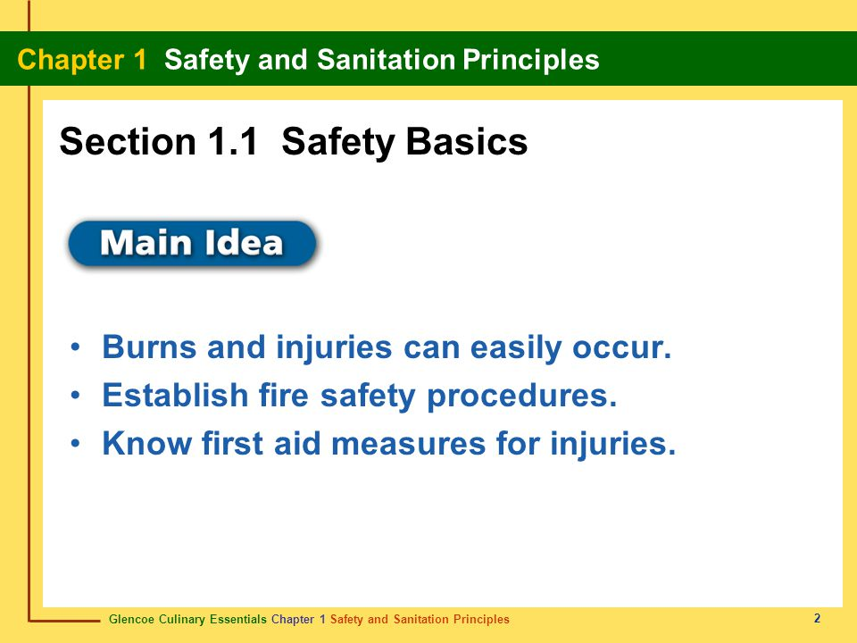 Glencoe Culinary Essentials Chapter 1 Safety and Sanitation Principles Chapter 1 Safety and Sanitation Principles 13 Content Vocabulary Academic Vocabulary sanitary contaminated direct contamination cross- contamination sanitation hazard toxin pathogen bacteria virus parasite fungus mold cleaning sanitizing result transmit