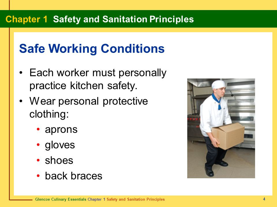 Glencoe Culinary Essentials Chapter 1 Safety and Sanitation Principles Chapter 1 Safety and Sanitation Principles 35 Show Definition An injury in which a portion of the skin is partially or completely torn off.