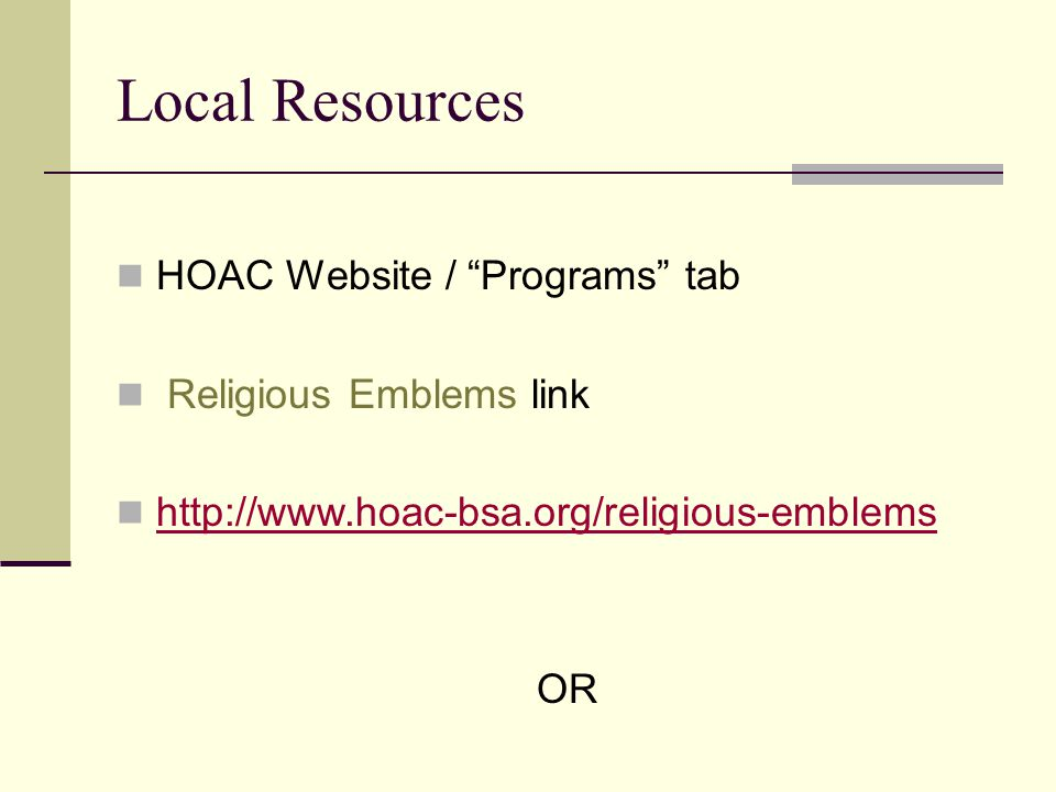 HOAC Website / Programs tab Religious Emblems link   OR