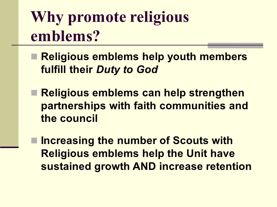 Why promote religious emblems.