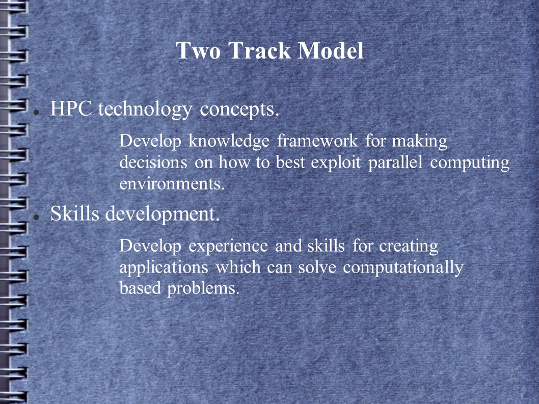 Two Track Model HPC technology concepts.