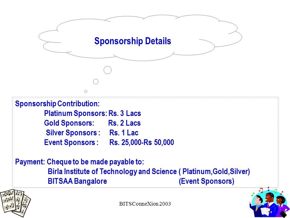 BITSConneXion 2003 Sponsorship Contribution: Platinum Sponsors: Rs.