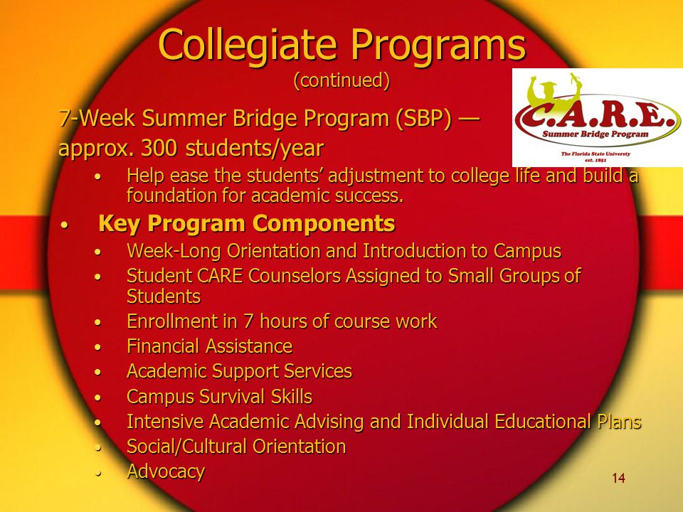14 Collegiate Programs (continued) 7-Week Summer Bridge Program (SBP) — approx. 300 students/year Help ease the students' adjustment to college life a
