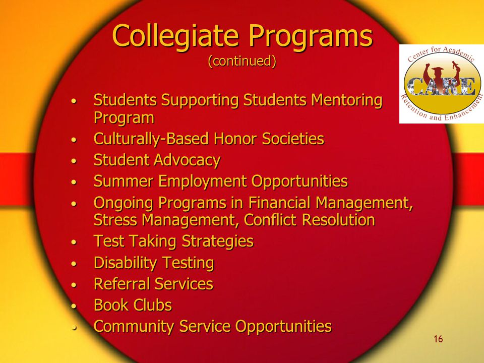 16 Collegiate Programs (continued) Students Supporting Students Mentoring Program Students Supporting Students Mentoring Program Culturally-Based Honor Societies Culturally-Based Honor Societies Student Advocacy Student Advocacy Summer Employment Opportunities Summer Employment Opportunities Ongoing Programs in Financial Management, Stress Management, Conflict Resolution Ongoing Programs in Financial Management, Stress Management, Conflict Resolution Test Taking Strategies Test Taking Strategies Disability Testing Disability Testing Referral Services Referral Services Book Clubs Book Clubs Community Service Opportunities Community Service Opportunities