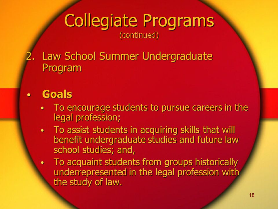 18 Collegiate Programs (continued) 2.Law School Summer Undergraduate Program Goals Goals To encourage students to pursue careers in the legal profession; To encourage students to pursue careers in the legal profession; To assist students in acquiring skills that will benefit undergraduate studies and future law school studies; and, To assist students in acquiring skills that will benefit undergraduate studies and future law school studies; and, To acquaint students from groups historically underrepresented in the legal profession with the study of law.