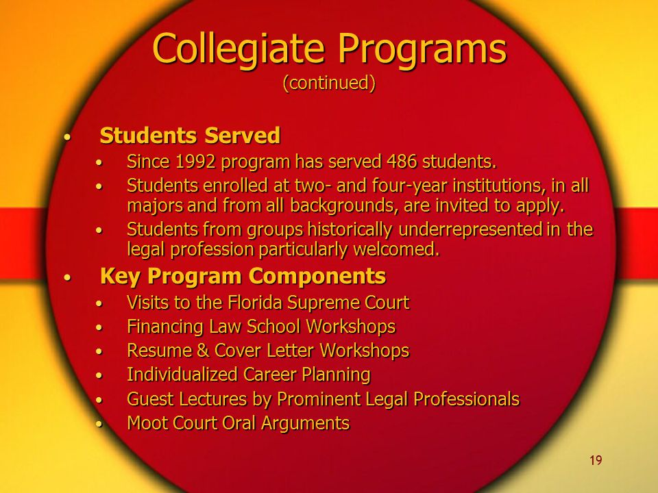 19 Collegiate Programs (continued) Students Served Students Served Since 1992 program has served 486 students.