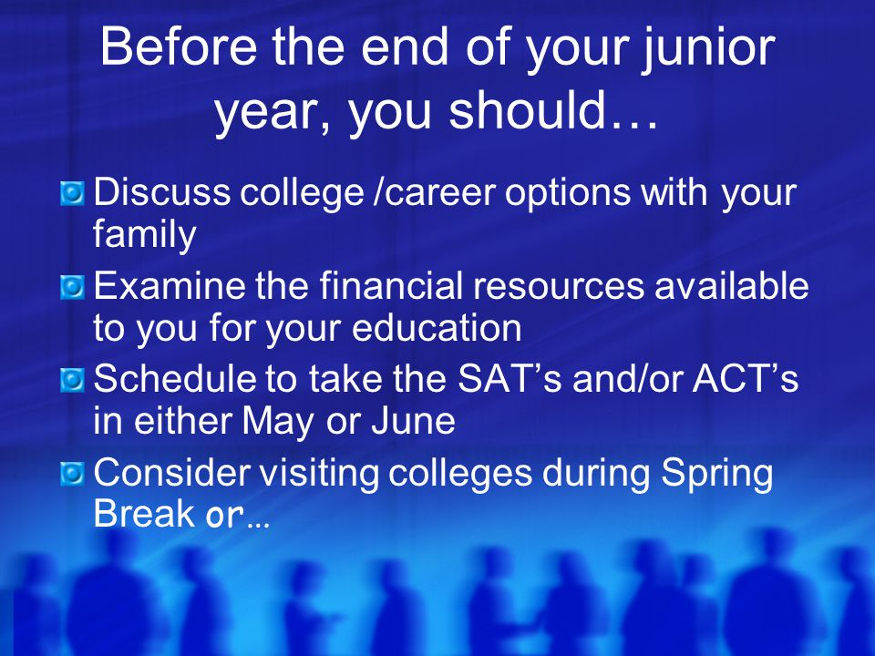 Before the end of your junior year, you should… Discuss college /career options with your family Examine the financial resources available to you for your education Schedule to take the SAT's and/or ACT's in either May or June Consider visiting colleges during Spring Break or…