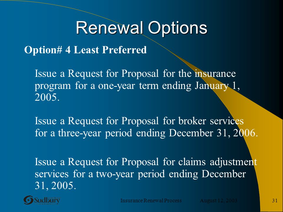 Insurance Renewal Process August 12, 2003 31 Renewal Options Option# 4 Least Preferred Issue a Request for Proposal for the insurance program for a on