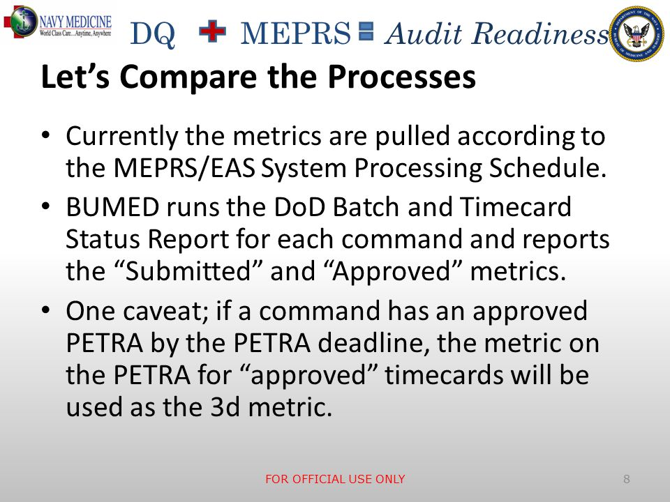 DQ MEPRS Audit Readiness Let's Compare the Processes Currently the metrics are pulled according to the MEPRS/EAS System Processing Schedule.