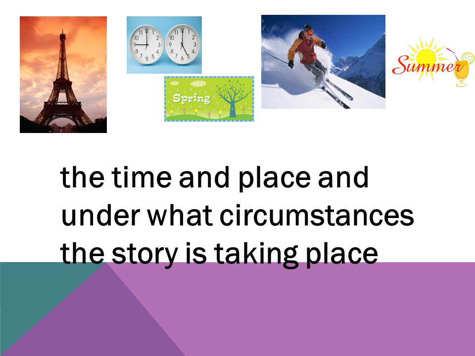 the time and place and under what circumstances the story is taking place