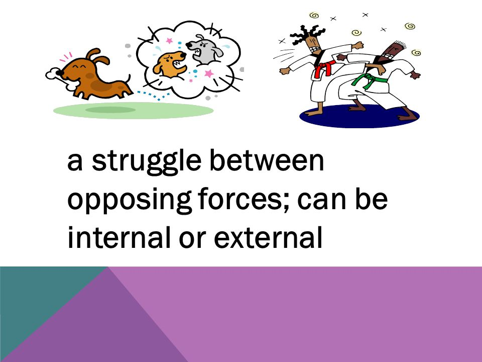 a struggle between opposing forces; can be internal or external