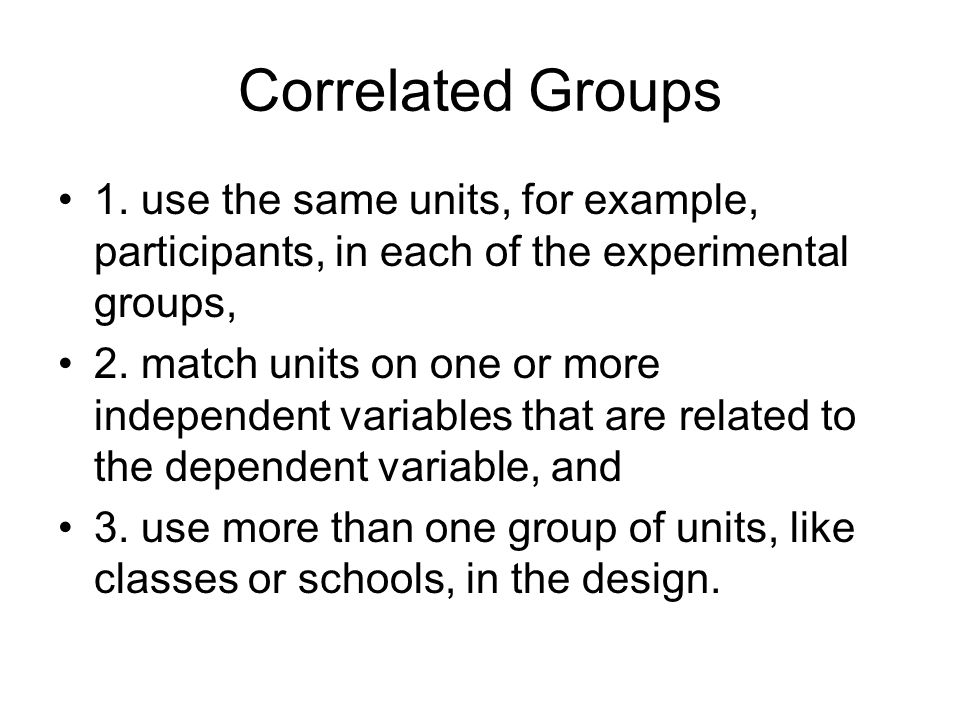 Correlated Groups 1.