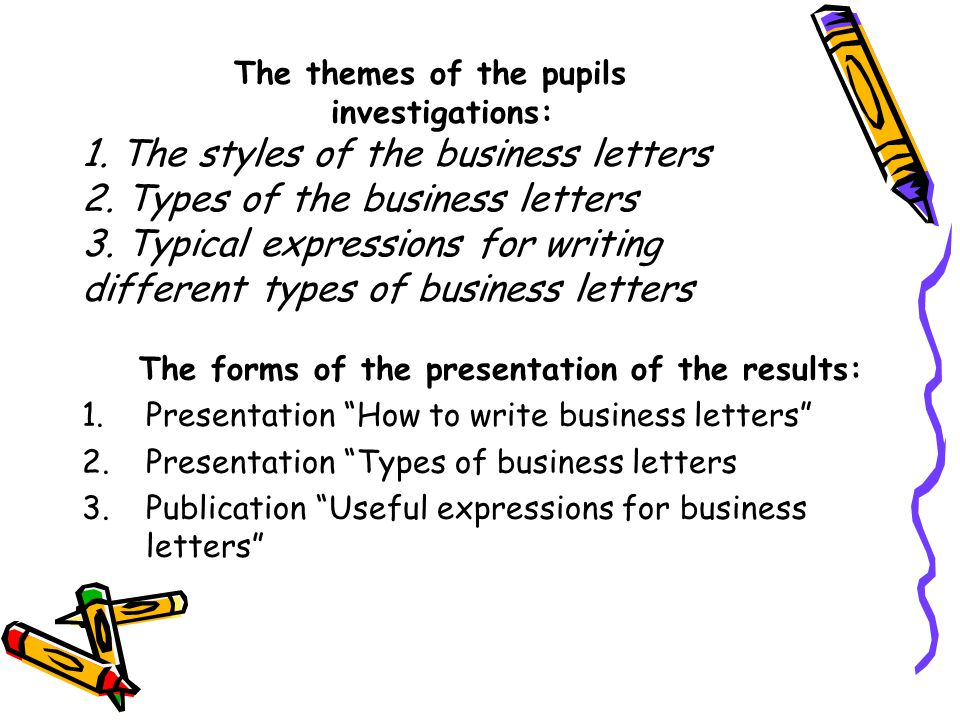 The themes of the pupils investigations: 1.The styles of the business letters 2.