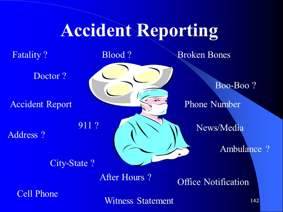 142 Accident Reporting Fatality .Boo-Boo . Doctor .