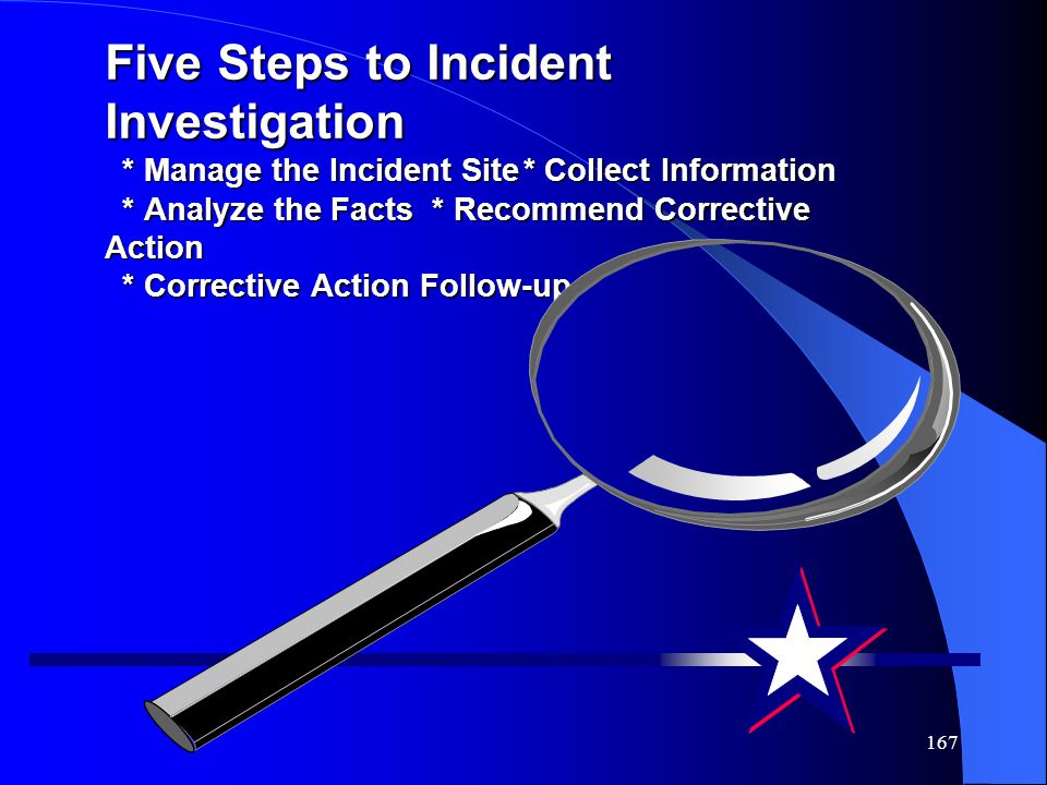 167 Five Steps to Incident Investigation * Manage the Incident Site* Collect Information * Analyze the Facts * Recommend Corrective Action * Corrective Action Follow-up