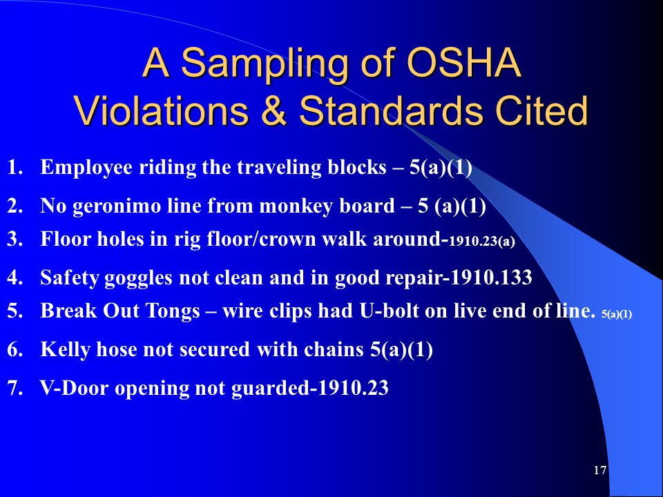 17 A Sampling of OSHA Violations & Standards Cited 1.Employee riding the traveling blocks – 5(a)(1) 2.