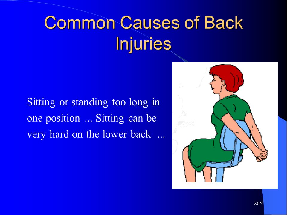 205 Common Causes of Back Injuries Sitting or standing too long in one position...