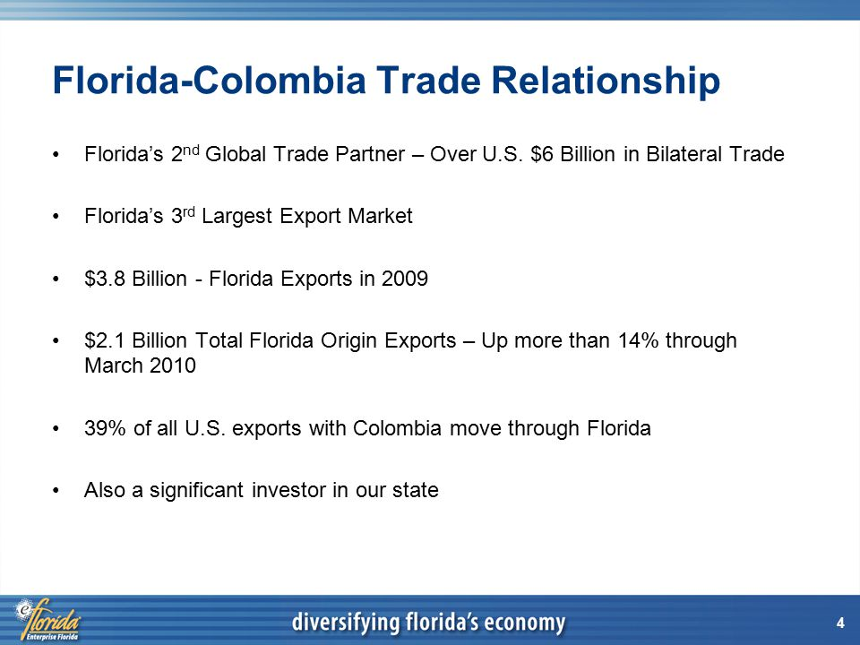 15 Export Sales Mission to Colombia Partners: Additional Costs EFI has arranged special group rates for participants but are responsible for their own hotel and airfare charges.