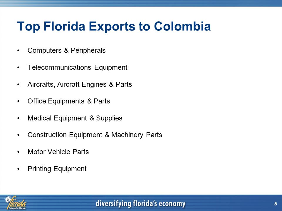 5 Top Florida Exports to Colombia Computers & Peripherals Telecommunications Equipment Aircrafts, Aircraft Engines & Parts Office Equipments & Parts Medical Equipment & Supplies Construction Equipment & Machinery Parts Motor Vehicle Parts Printing Equipment